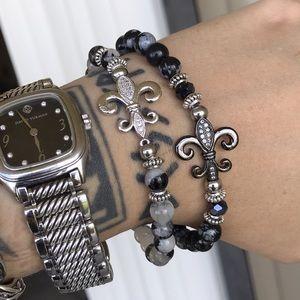 Cz fleur de lis quartz & obsidian bracelets set